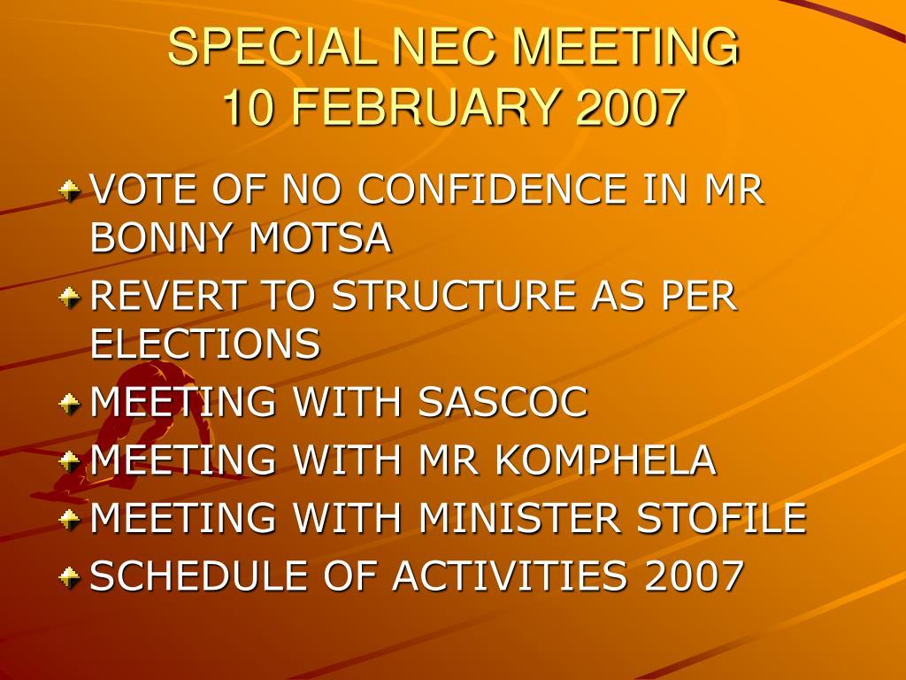 SPECIAL NEC MEETING