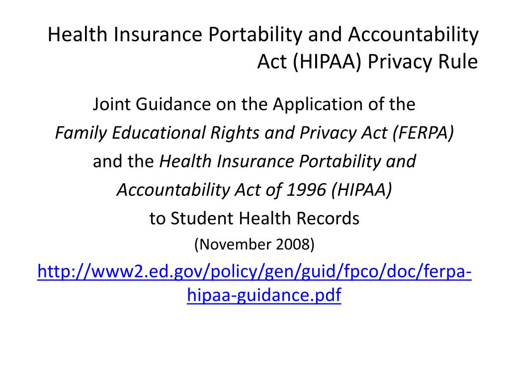 Health Insurance Portability and Accountability Act (HIPAA) Privacy Rule