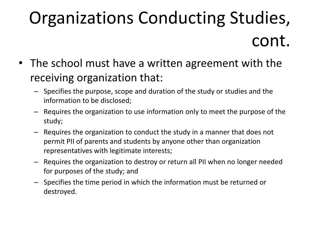 Organizations Conducting Studies, cont.
