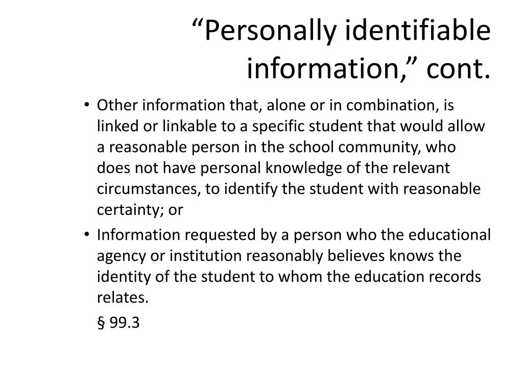 """""""Personally identifiable information,"""" cont."""