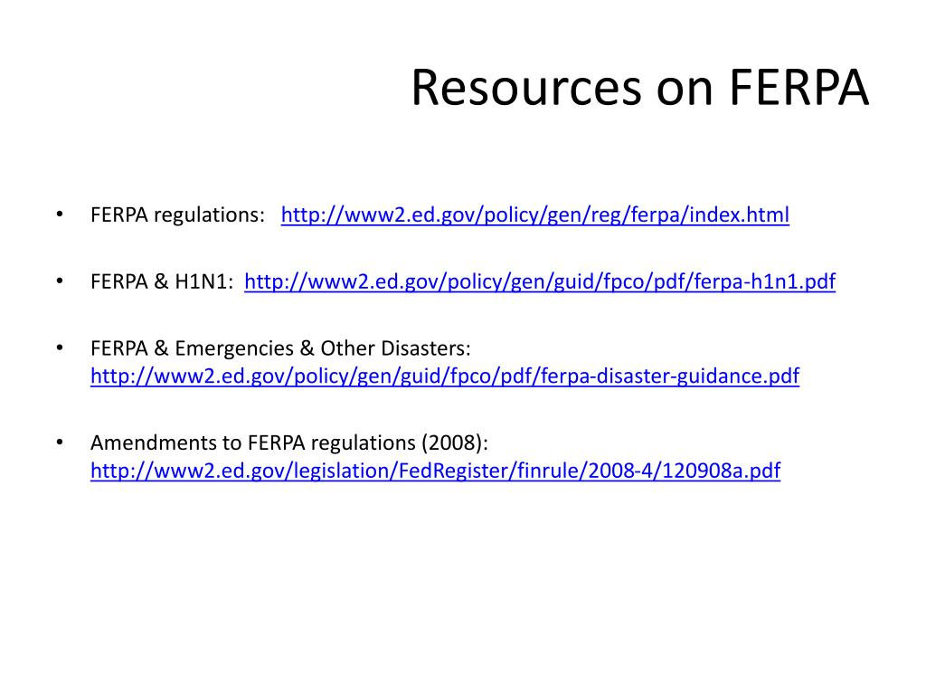 Resources on FERPA