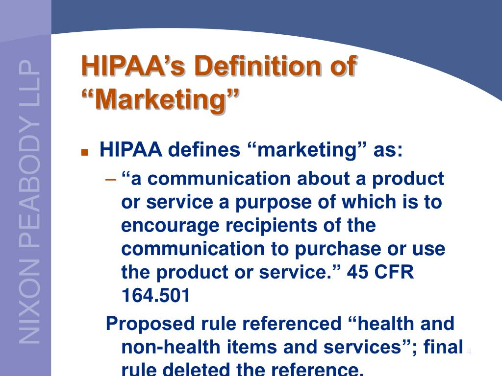 "HIPAA's Definition of ""Marketing"""