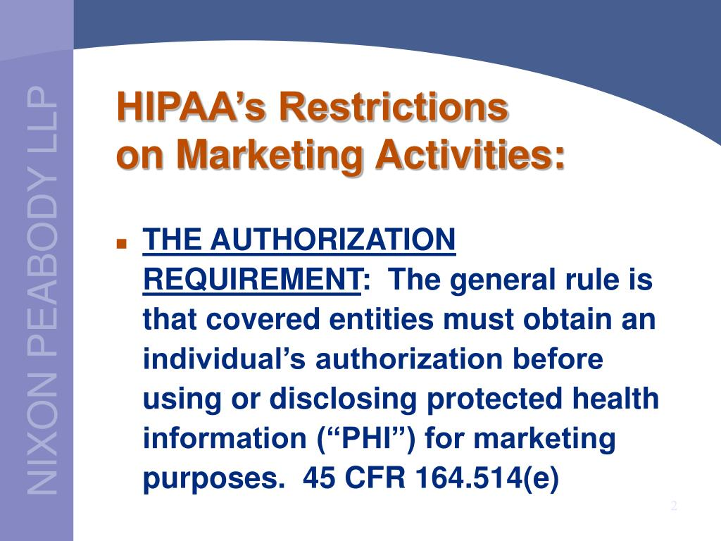 HIPAA's Restrictions