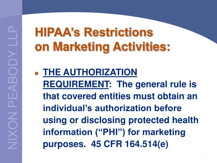 Hipaa s restrictions on marketing activities