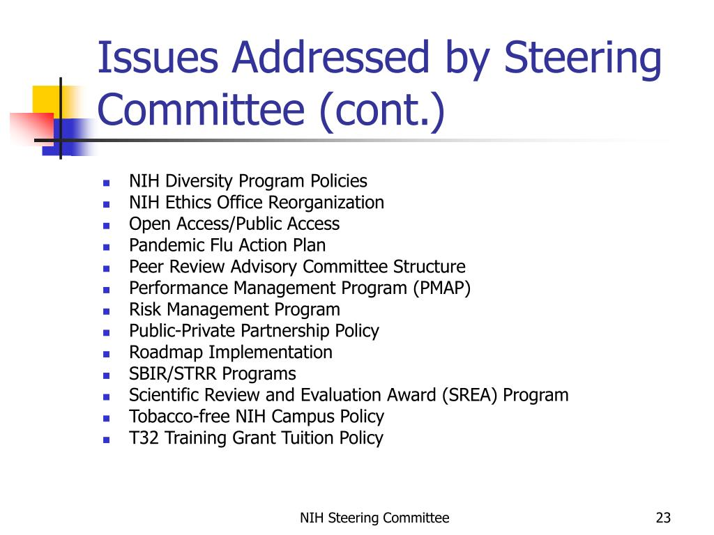 Issues Addressed by Steering Committee (cont.)