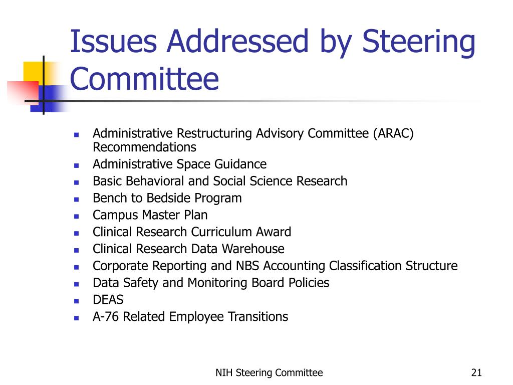 Issues Addressed by Steering Committee