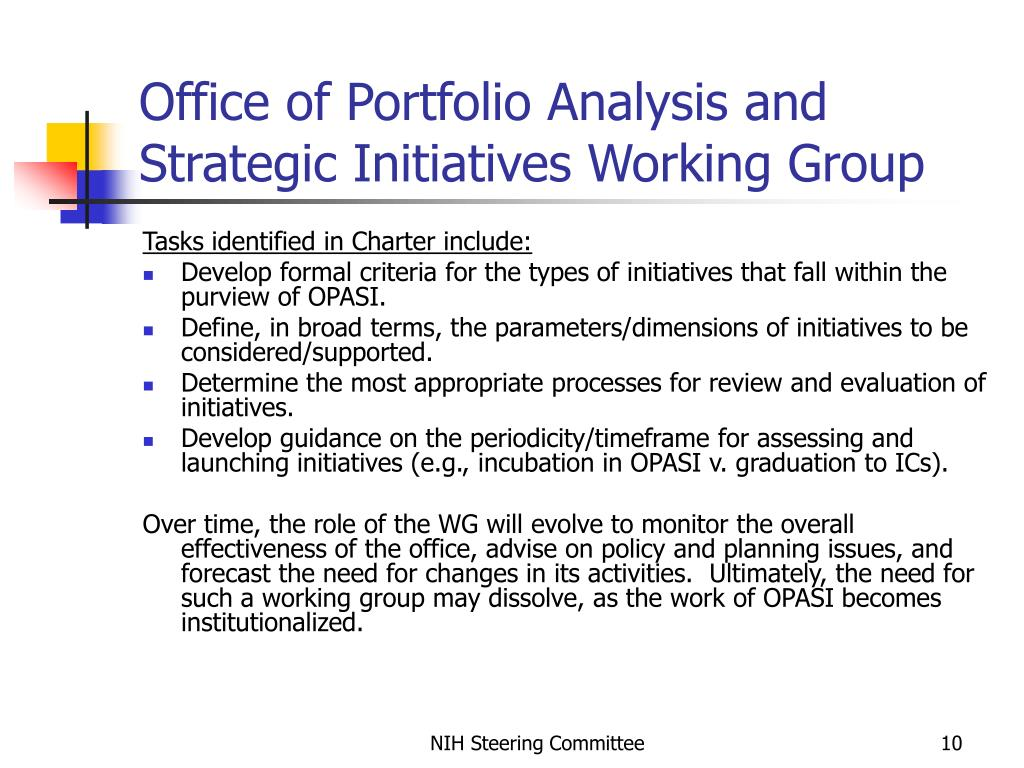Office of Portfolio Analysis and Strategic Initiatives Working Group
