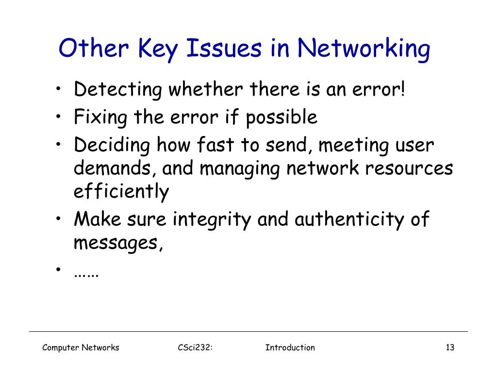 Other Key Issues in Networking