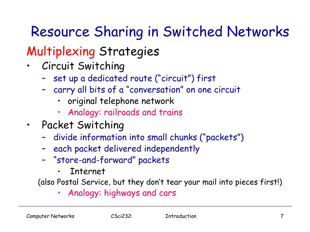Resource Sharing in Switched Networks