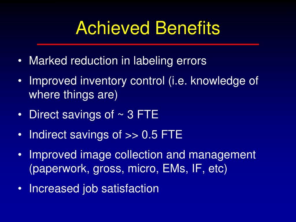 Achieved Benefits
