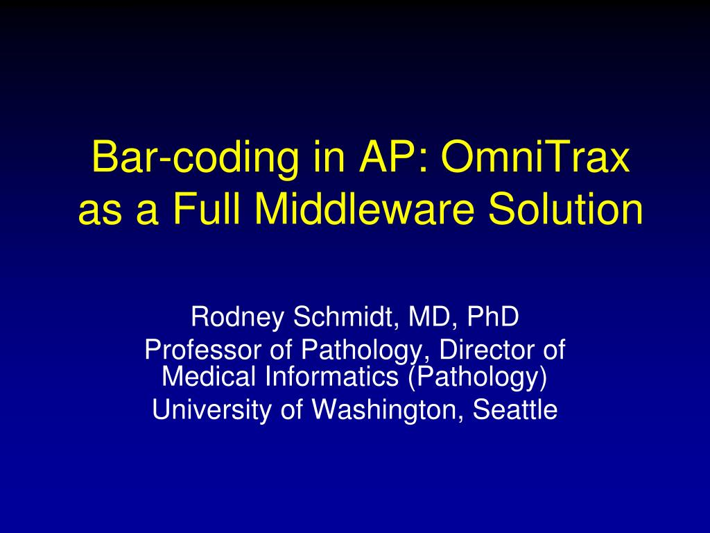Bar-coding in AP: OmniTrax as a Full Middleware Solution