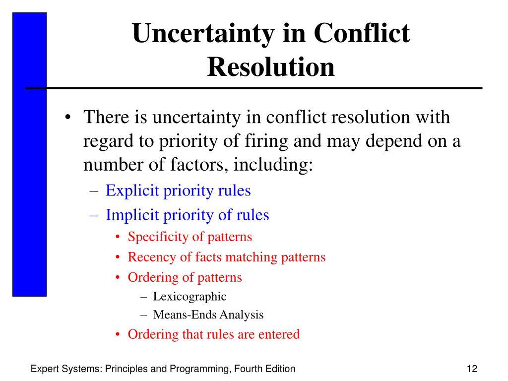 Uncertainty in Conflict Resolution