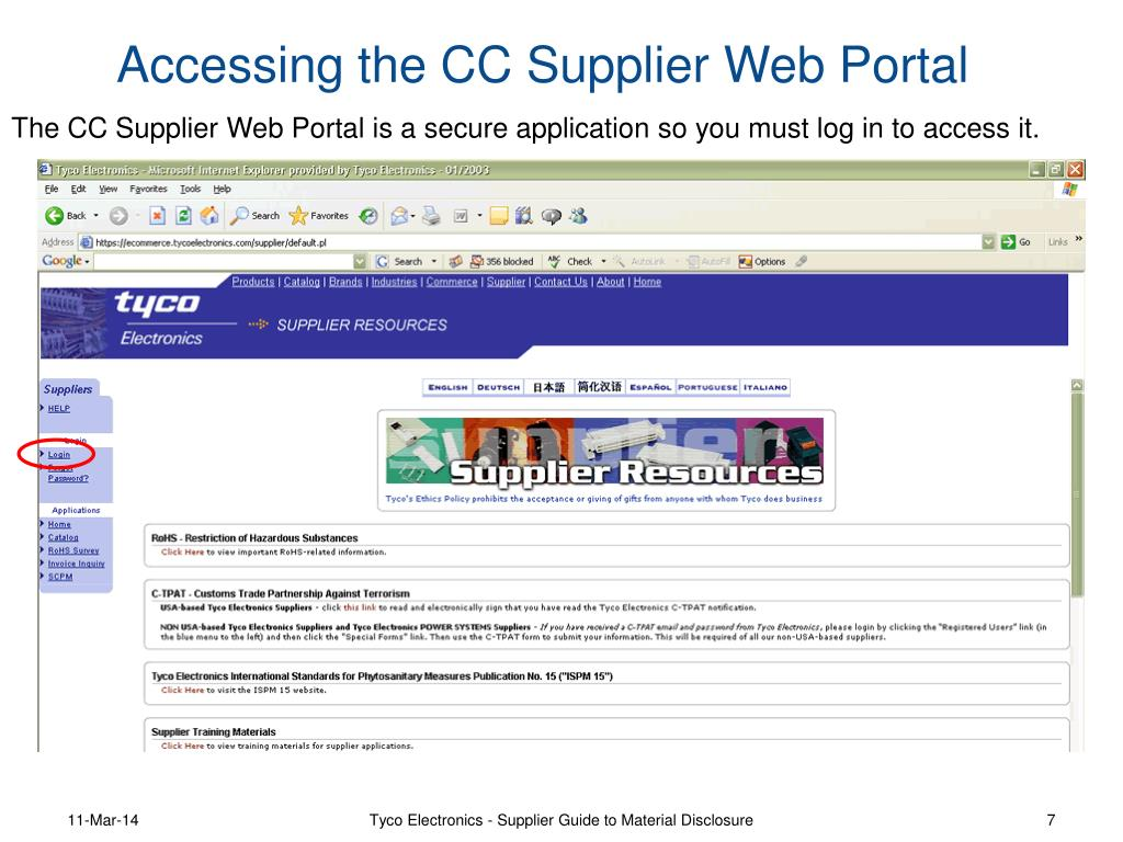 The CC Supplier Web Portal is a secure application so you must log in to access it.