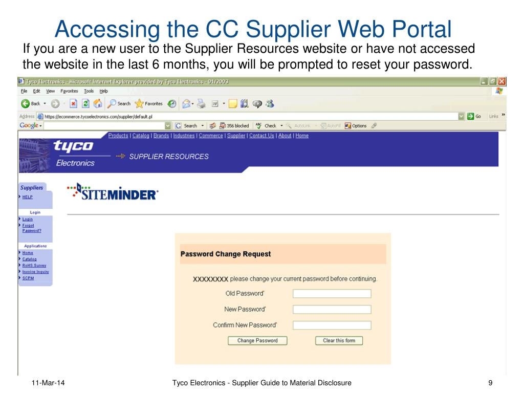 If you are a new user to the Supplier Resources website or have not accessed the website in the last 6 months, you will be prompted to reset your password.