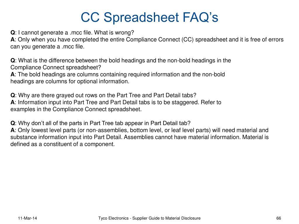 CC Spreadsheet FAQ's