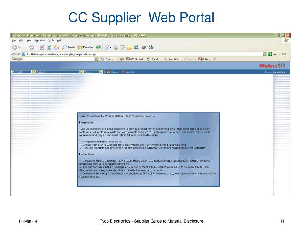 CC Supplier  Web Portal