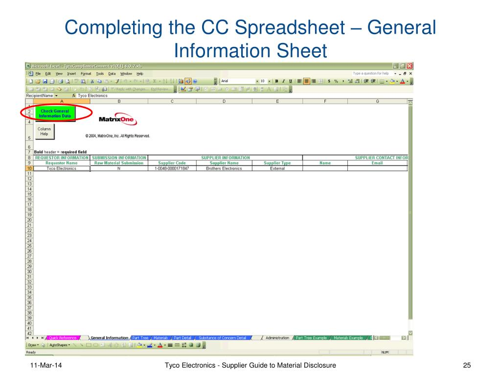 Completing the CC Spreadsheet – General Information Sheet