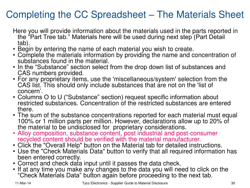 Completing the CC Spreadsheet – The Materials Sheet