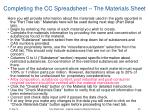 completing the cc spreadsheet the materials sheet30