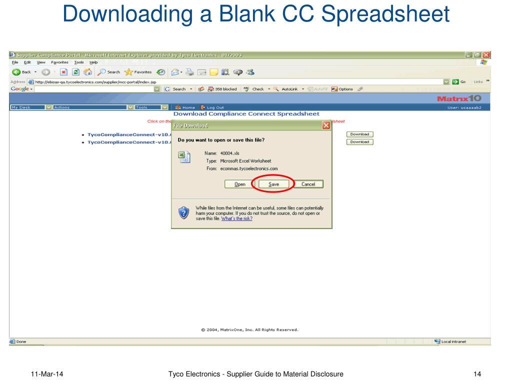 Downloading a Blank CC Spreadsheet