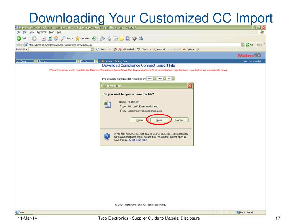 Downloading Your Customized CC Import File