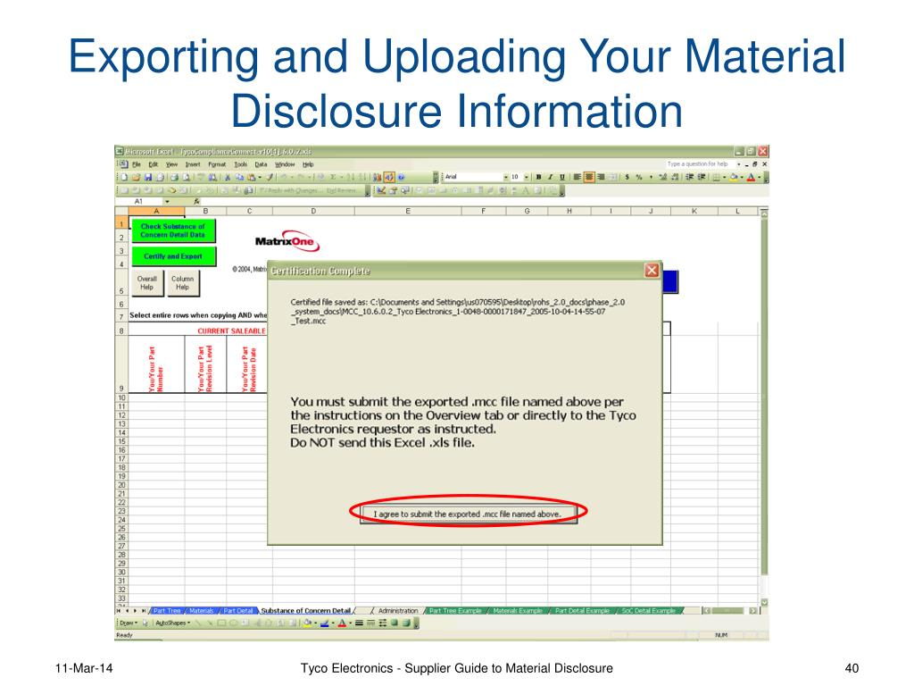 Exporting and Uploading Your Material Disclosure Information