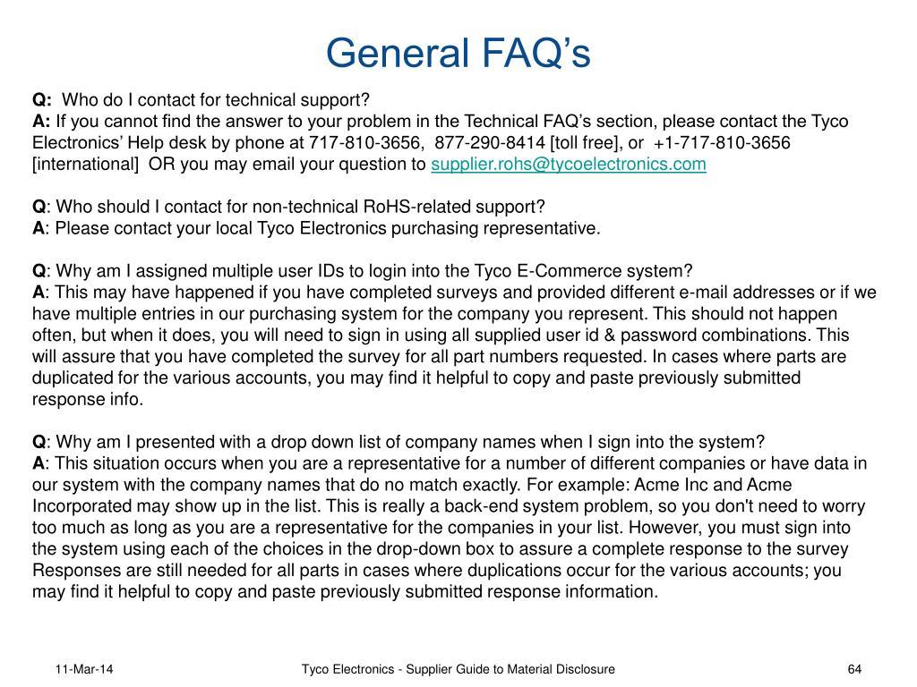 General FAQ's