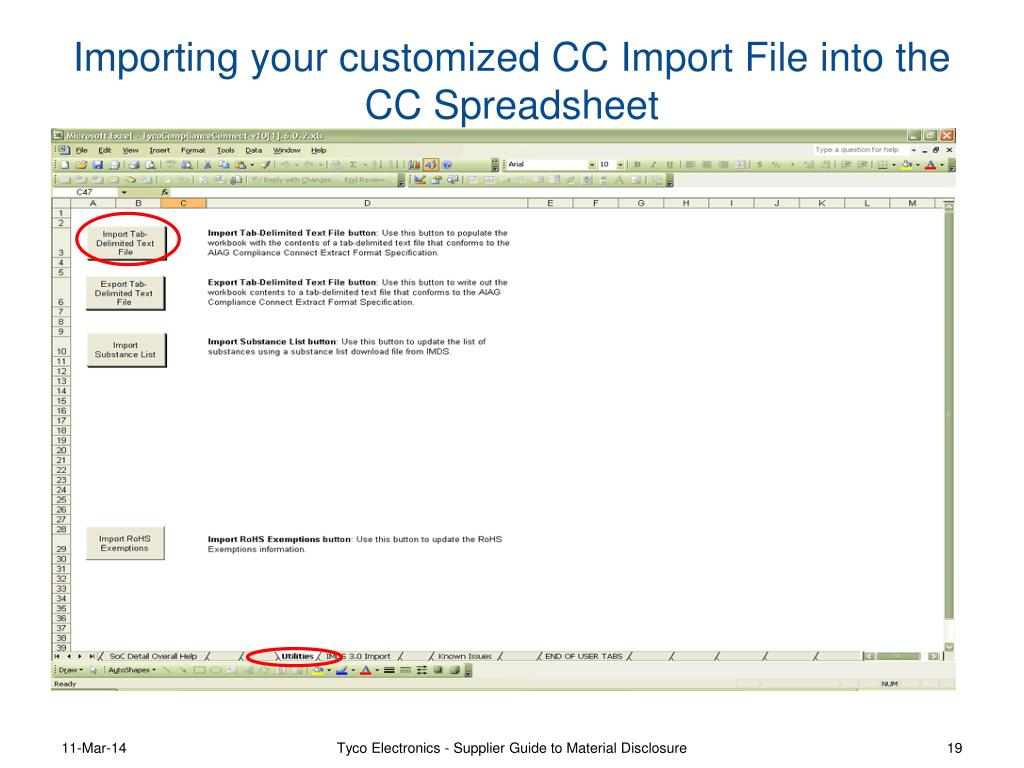 Importing your customized CC Import File into the CC Spreadsheet