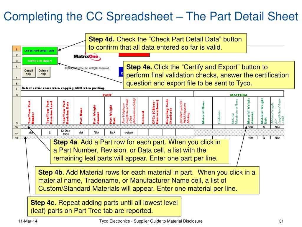 Completing the CC Spreadsheet – The Part Detail Sheet