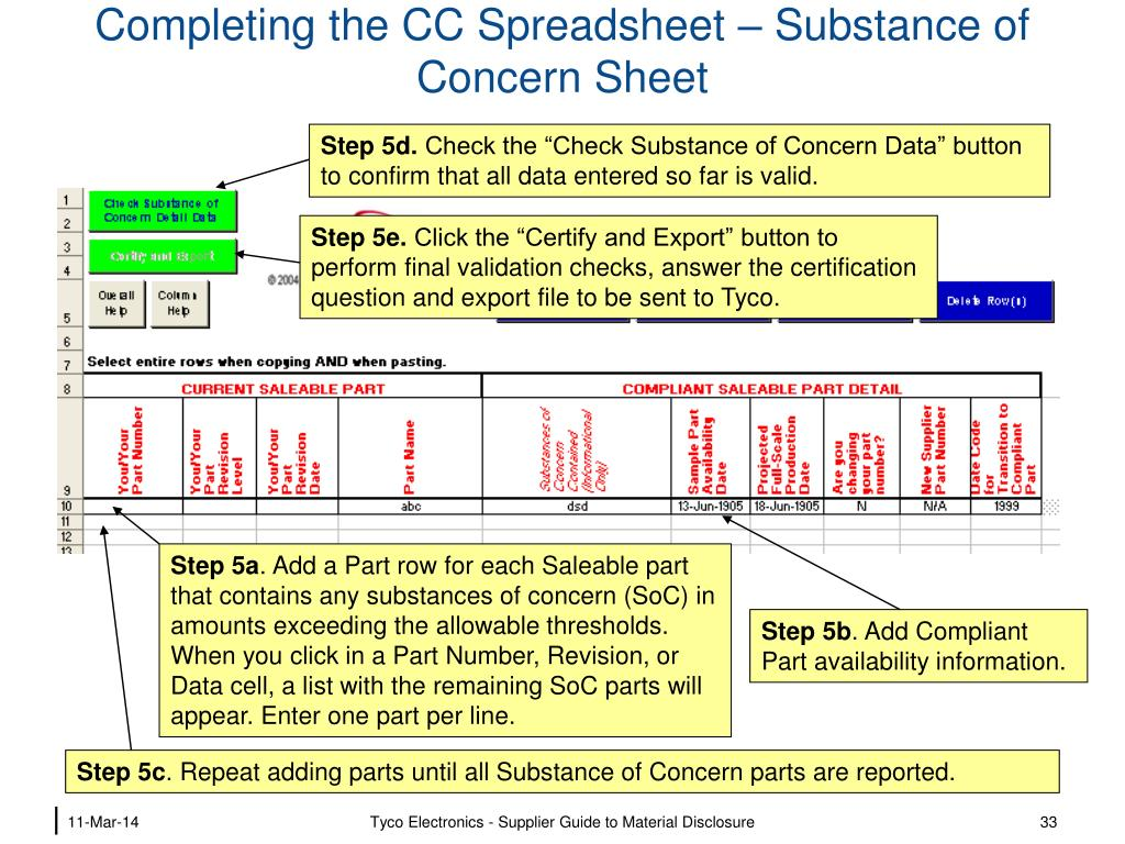 Completing the CC Spreadsheet – Substance of Concern Sheet