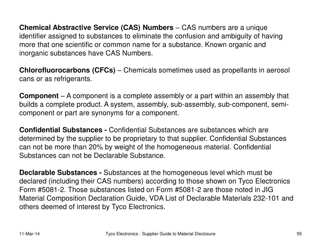 Chemical Abstractive Service (CAS) Numbers