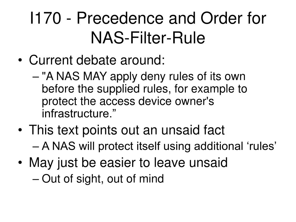 I170 - Precedence and Order for NAS-Filter-Rule