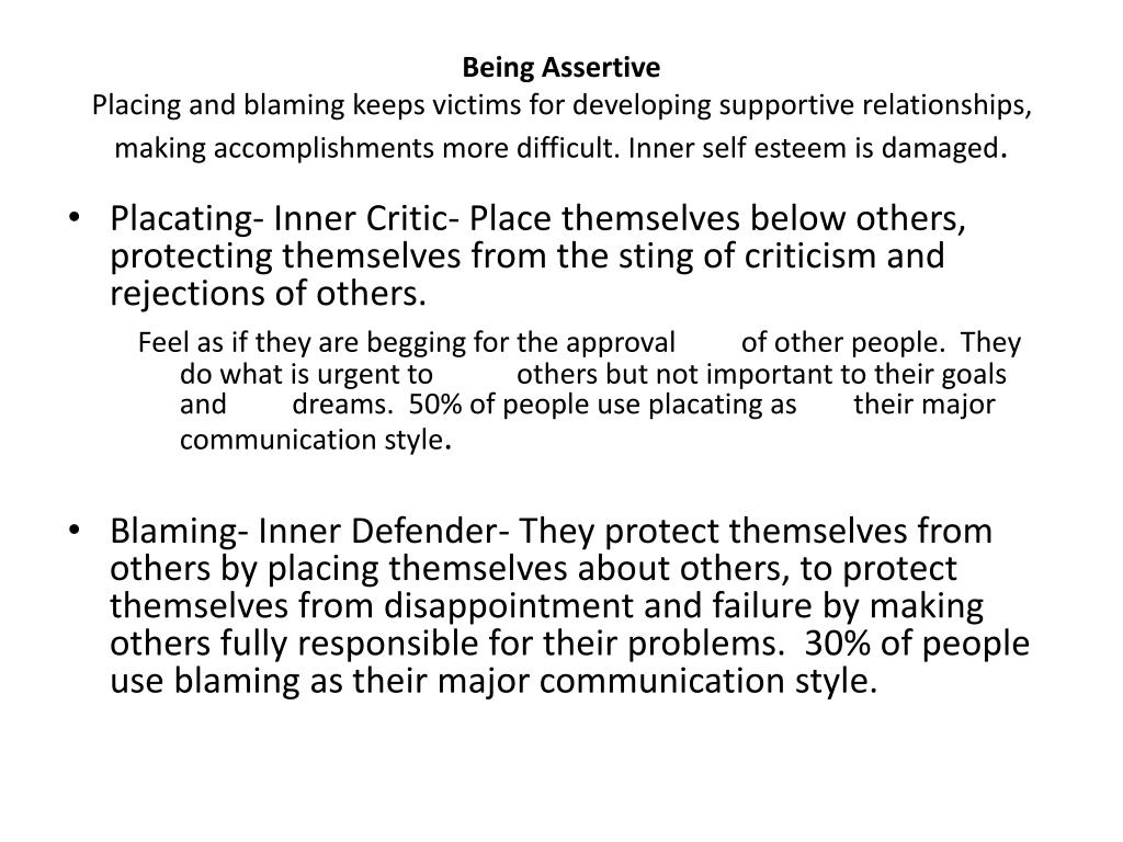 placating blaming and leveling Placating definition, to appease or pacify, especially by concessions or conciliatory gestures: to placate an outraged citizenry see more.