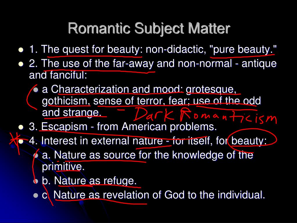 Romantic Subject Matter