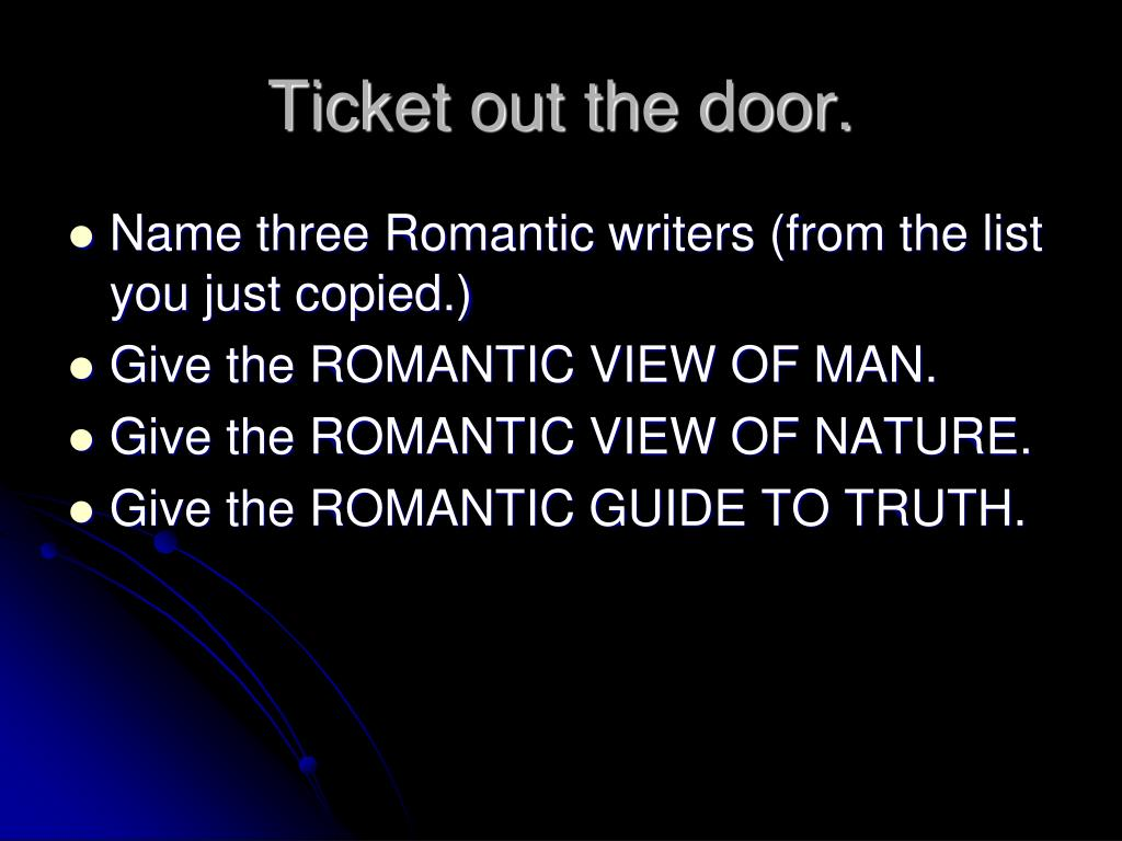 Ticket out the door.