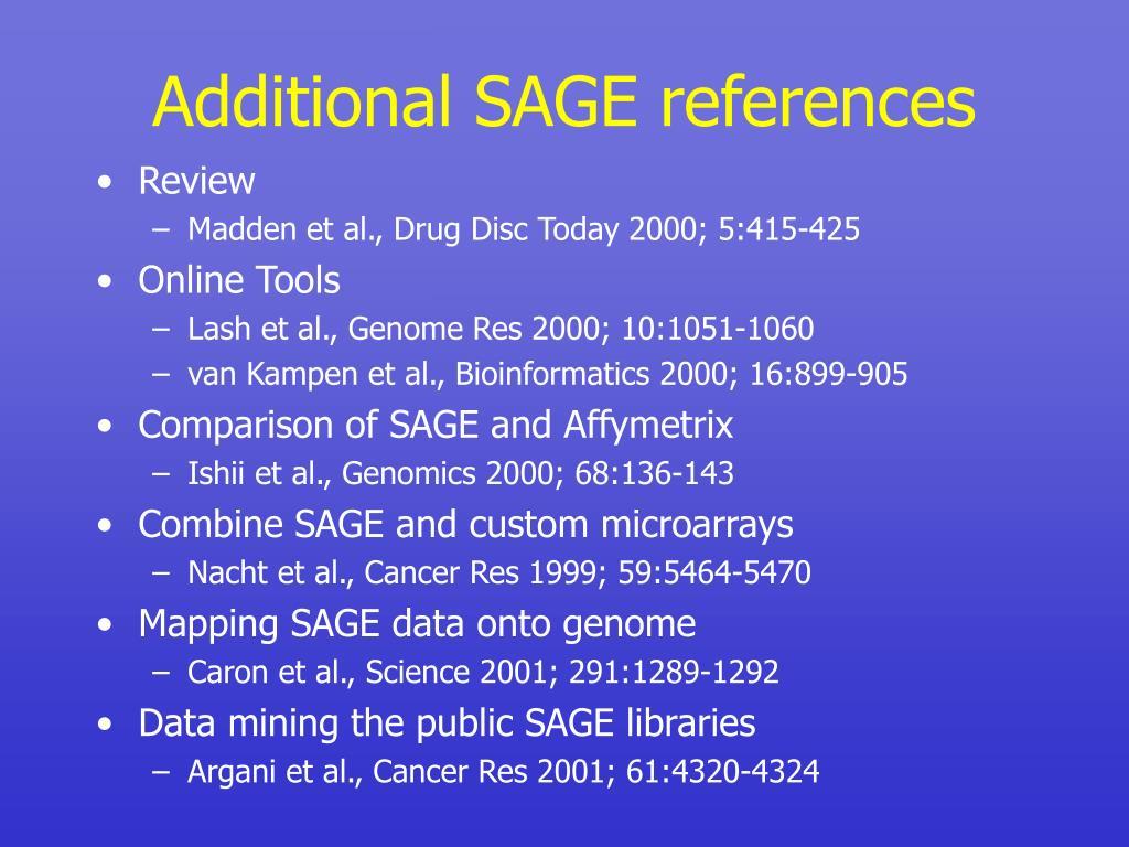 Additional SAGE references