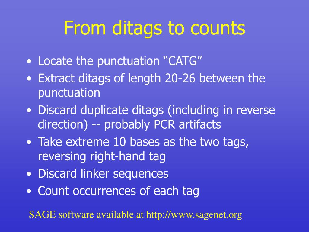 From ditags to counts