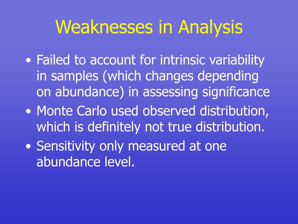 Weaknesses in Analysis