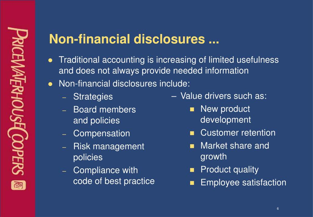 Non-financial disclosures ...