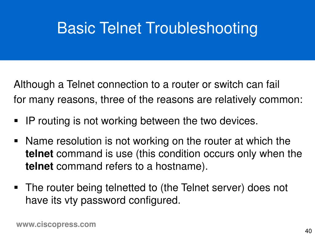 Basic Telnet Troubleshooting