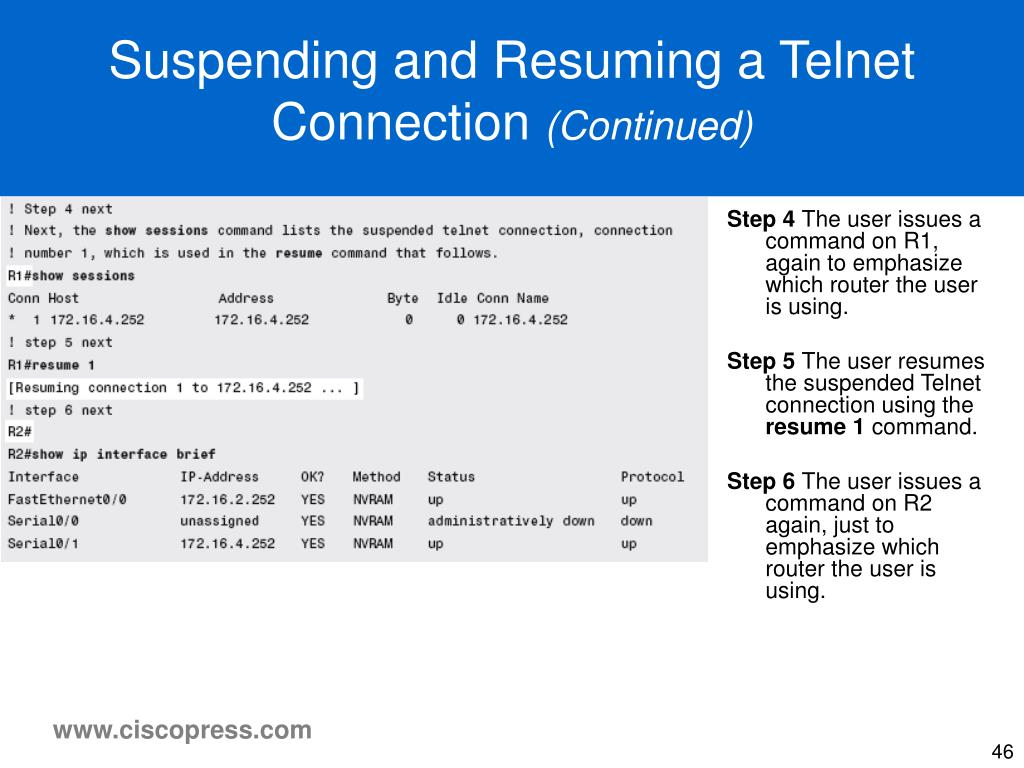 Suspending and Resuming a Telnet Connection