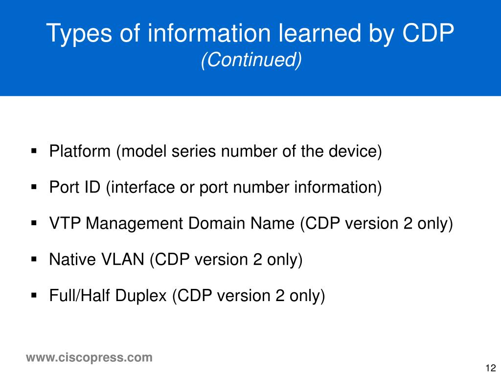 Types of information learned by CDP