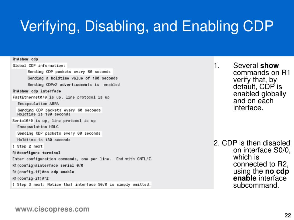 Verifying, Disabling, and Enabling CDP