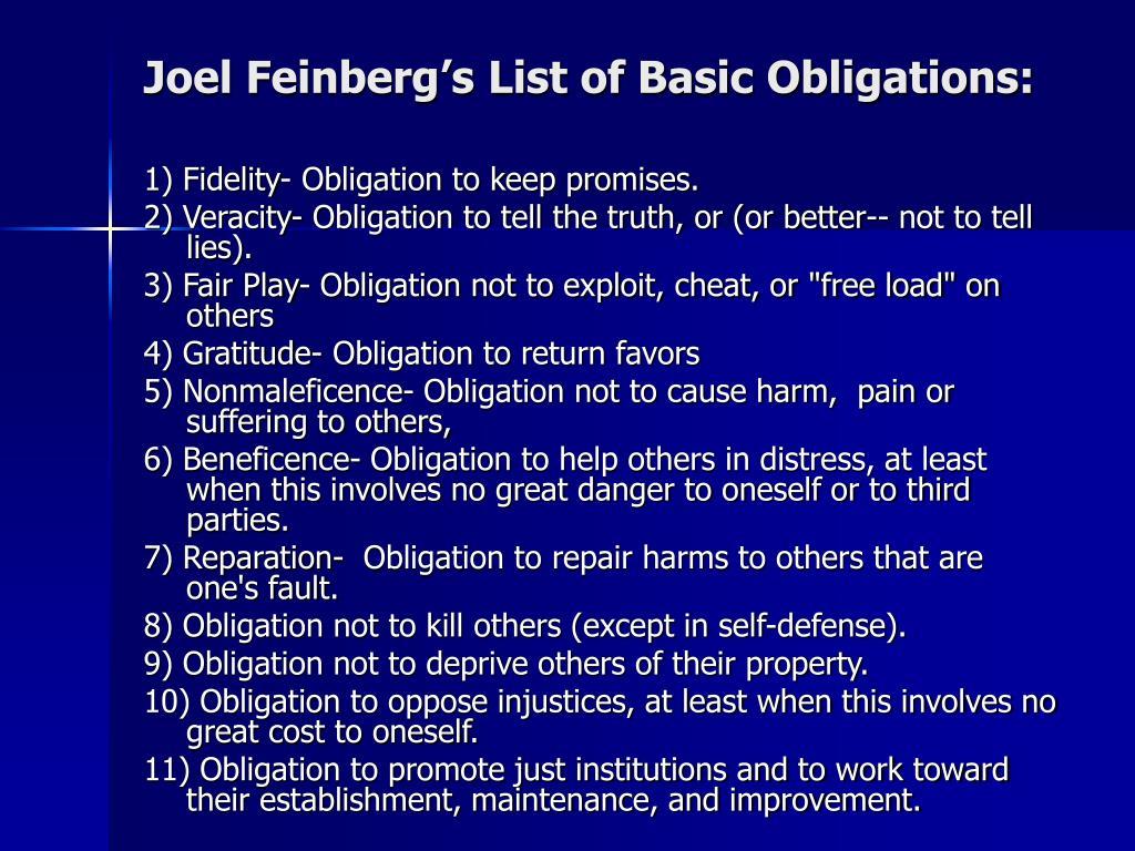 Joel Feinberg's List of Basic Obligations:
