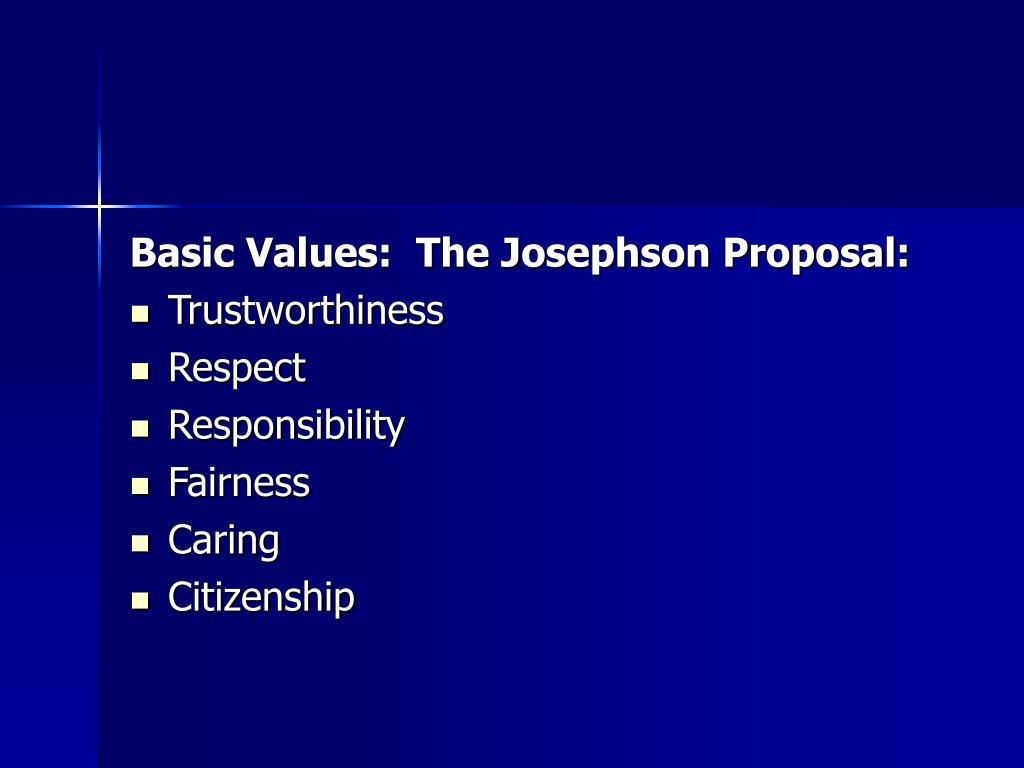Basic Values:  The Josephson Proposal: