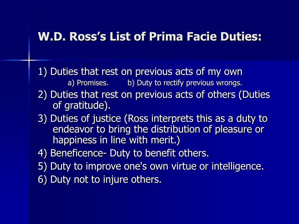 W.D. Ross's List of Prima Facie Duties: