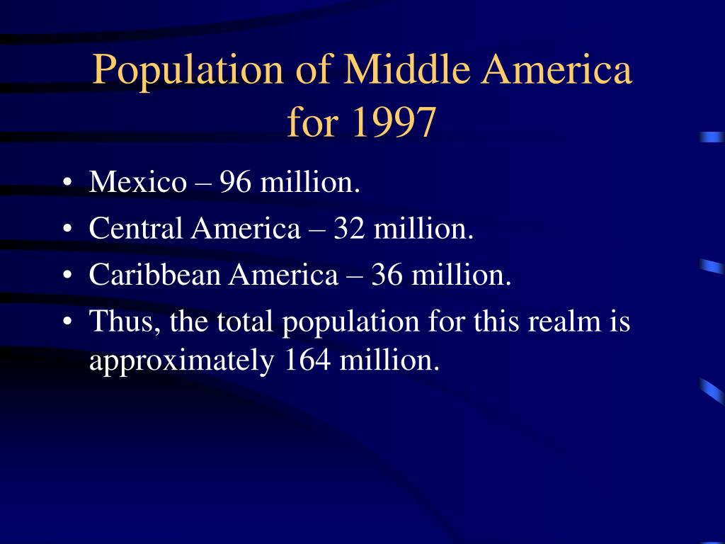 Population of Middle America for 1997