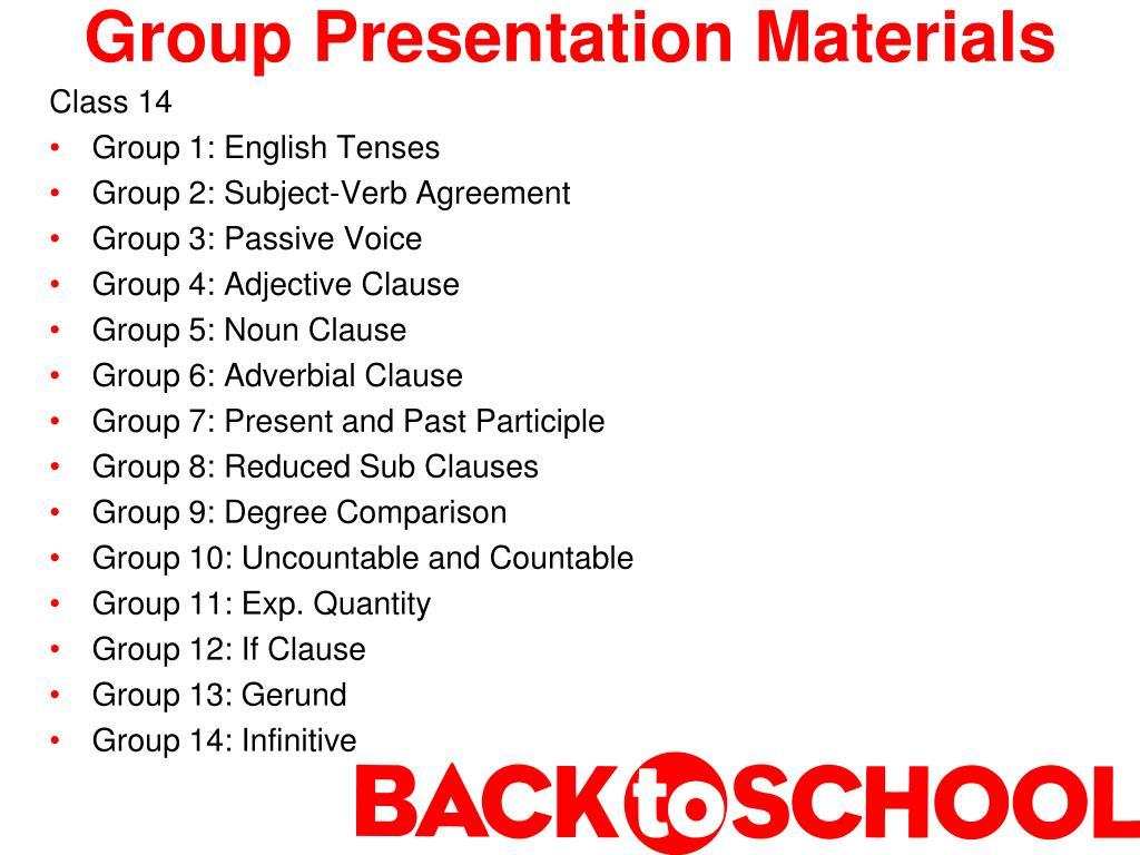Group Presentation Materials