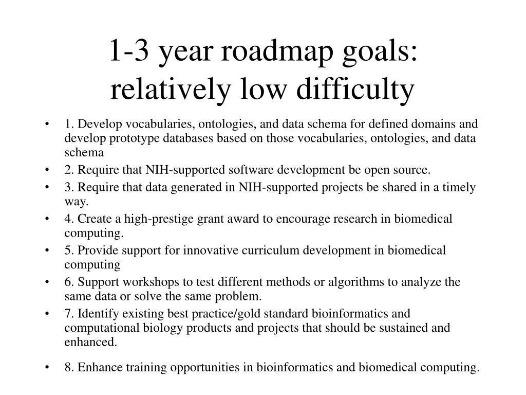1-3 year roadmap goals: relatively low difficulty