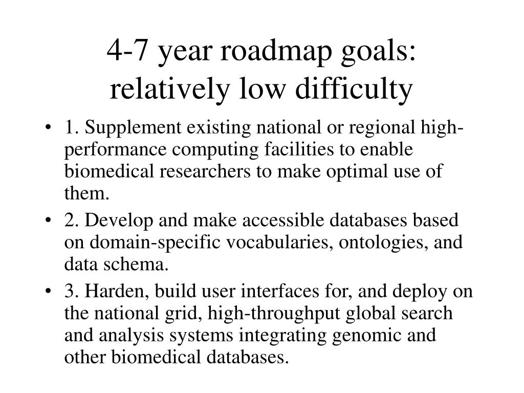 4-7 year roadmap goals: relatively low difficulty